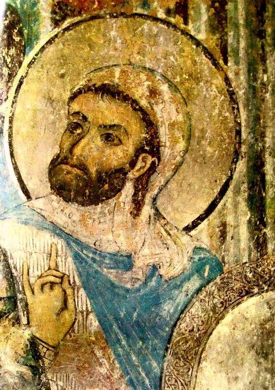 Святой Мученик Лонгин Сотник. Фреска церкви Святого Николая в монастыре Кинцвиси, Грузия. Начало XIII века.