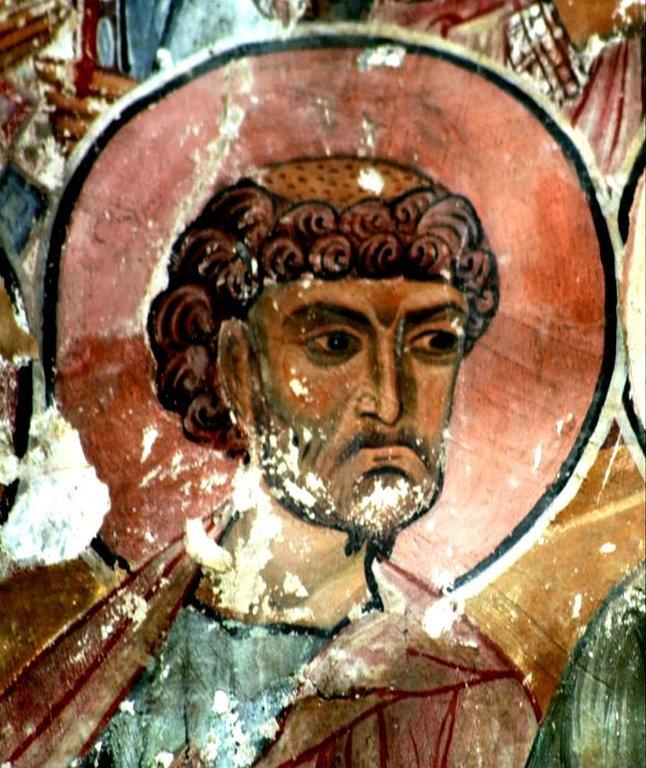 Святой Апостол и Евангелист Лука. Фреска храма Святого Саввы в монастыре Сапара, Грузия. Конец XIII века.