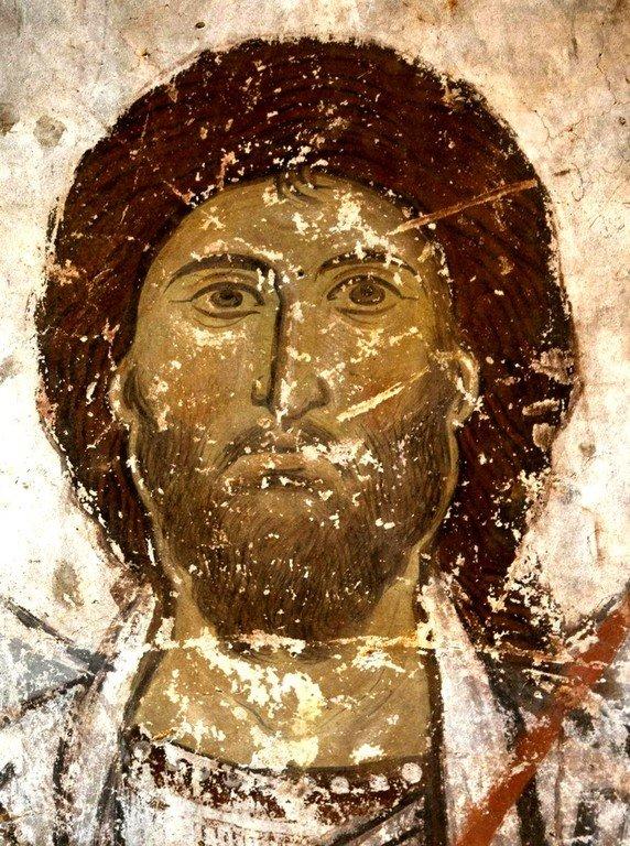 Святой Великомученик Артемий Антиохийский. Фреска храма Успения Пресвятой Богородицы в монастыре Тимотесубани, Грузия.1205 - 1215 годы.