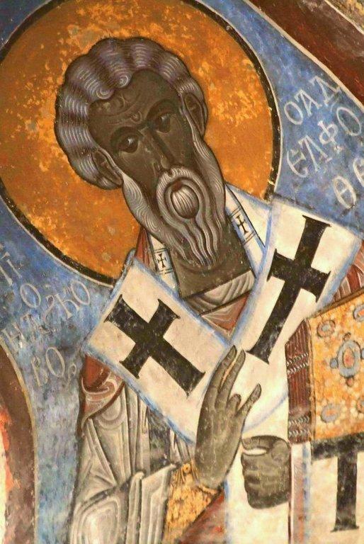 Святой Апостол Иаков, брат Господень. Фреска монастыря Ахтала, Армения. Храм расписан грузинскими мастерами в XIII веке, когда монастырь был православным.