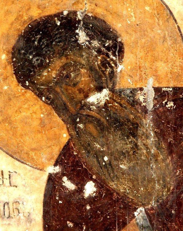 Святой Преподобный Серапион Зарзмский. Фреска монастыря Зарзма, Грузия. Середина XIV века.