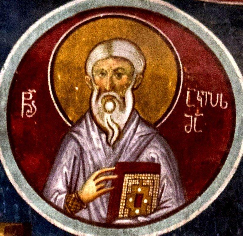 Священномученик Акепсим, Епископ Наессонский, Персидский. Фреска храма Святого Саввы в монастыре Сапара, Грузия. XIV век.