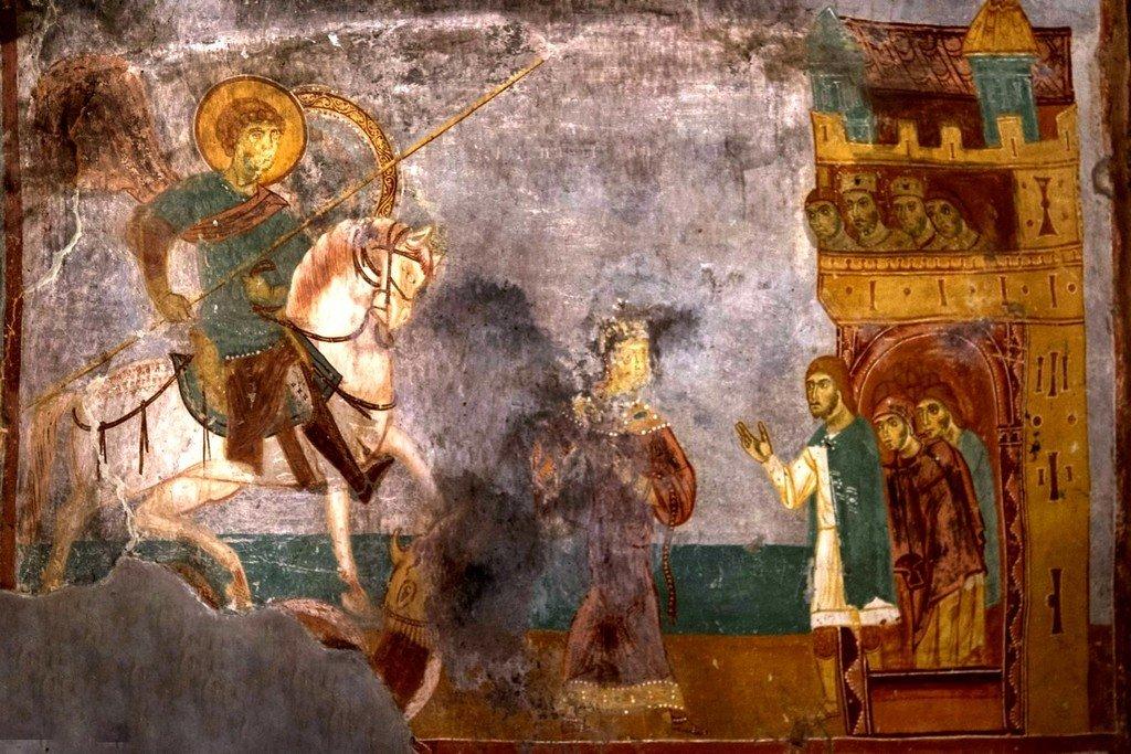 Чудо Святого Георгия о змие. Фреска церкви Святого Георгия в Ачи, Грузия. XIII век.