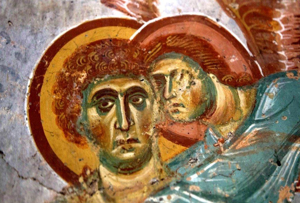 Явление Ангела Господня Святому Георгию во время мучения негашёной известью (?). Фреска церкви Святого Георгия в Ачи, Грузия. XIII век.