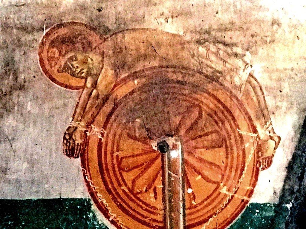Колесование Святого Великомученика Георгия. Фреска церкви Святого Георгия в Ачи, Грузия. XIII век.