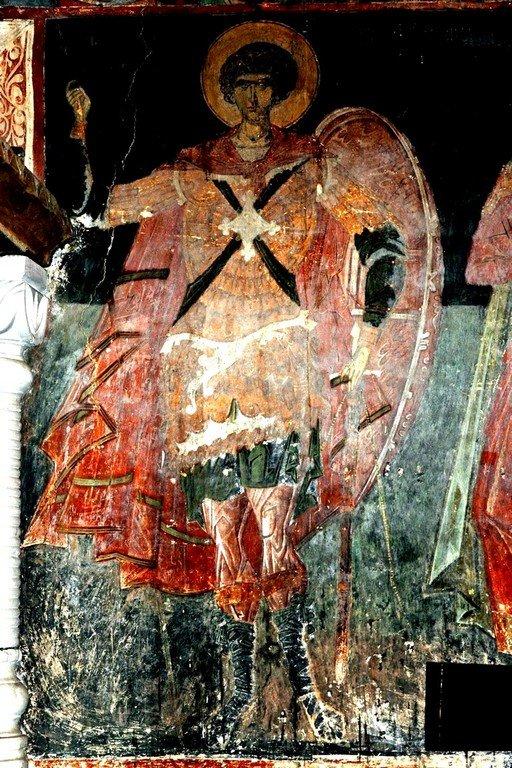 Святой Великомученик Георгий Победоносец. Фреска церкви Святого Георгия в монастыре Убиса (Убиси), Грузия. Середина - вторая половина XIV века.