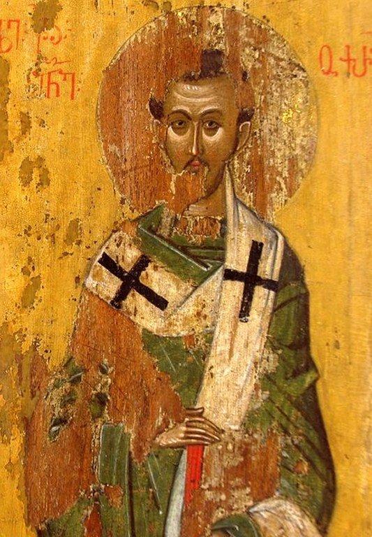 Святитель Иоанн Златоуст. Фрагмент иконы из монастыря Убиса (Убиси), Грузия. XIV век.