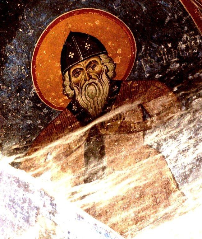 Святой Преподобный Варлаам Отшельник. Фреска монастыря Ахтала, Армения. Выполнена грузинскими мастерами в XIII веке, когда монастырь был православным.