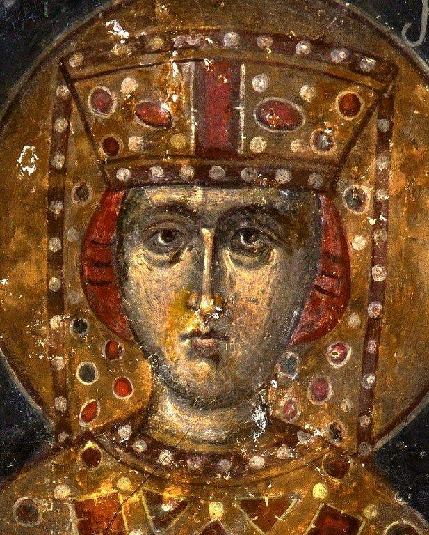 Святая Великомученица Екатерина. Фреска монастыря Зарзма, Грузия. Середина XIV века.