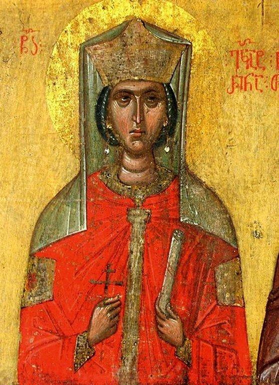 Святая Великомученица Екатерина. Фрагмент грузинской иконы XIV века из монастыря Убиса (Убиси).