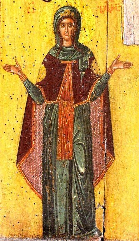Святая Великомученица Варвара. Фрагмент грузинской иконы XIV века из монастыря Убиса (Убиси).