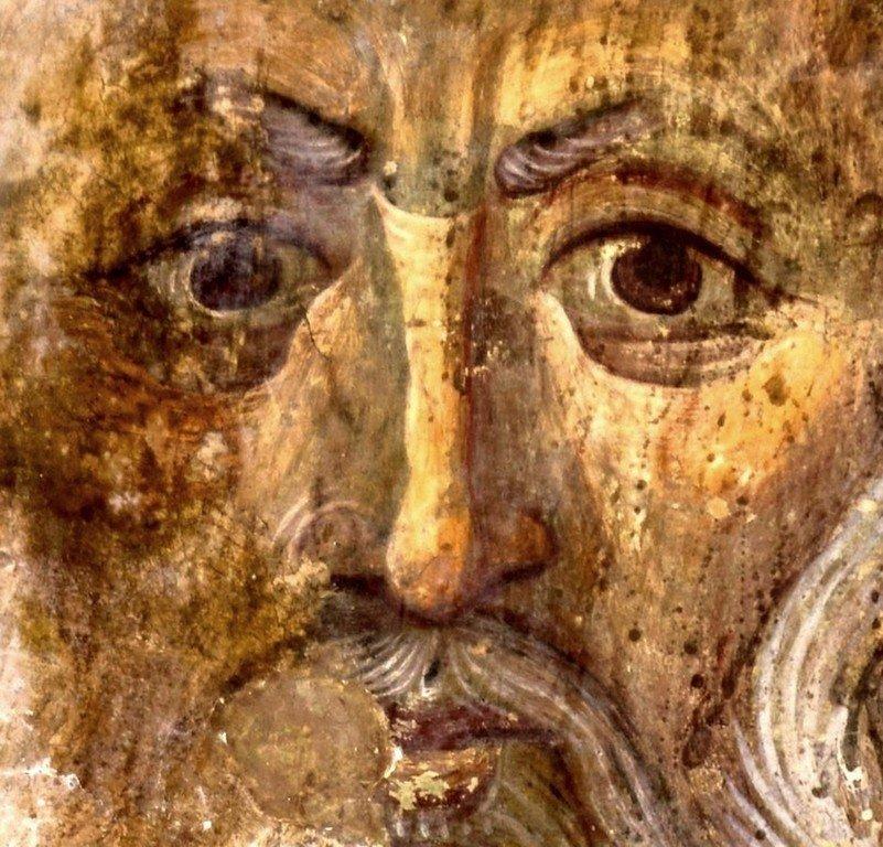 Святой Преподобный Савва Освященный. Фреска храма Святого Саввы в монастыре Сапара, Грузия. XIII - XIV века.