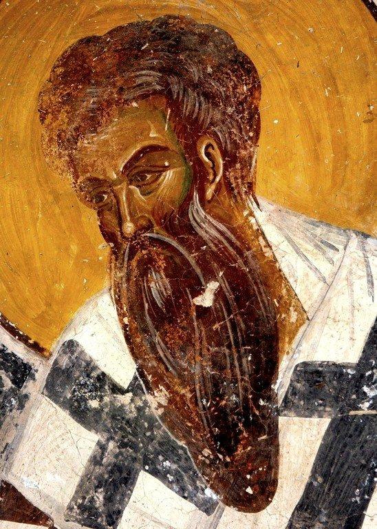 Святитель Василий Великий. Фреска монастыря Гелати, Грузия. Конец XIII века.