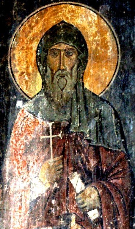 Святой Преподобный Евагрий Шио-Мгвимский. Фреска монастыря Ахтала, Армения. Храм расписан грузинскими мастерами в XIII веке, когда монастырь был православным.