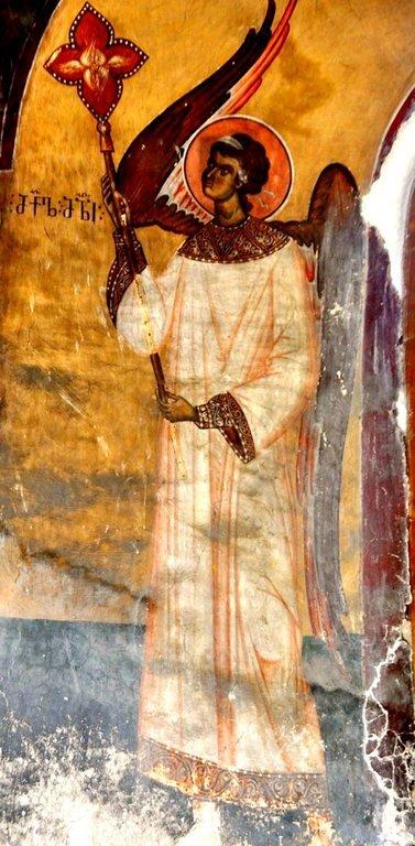 Ангел-диакон. Фреска церкви Святого Георгия в монастыре Убиса (Убиси), Грузия. Середина - вторая половина XIV века. Иконописцы Дамиане и его ученик Герасиме.