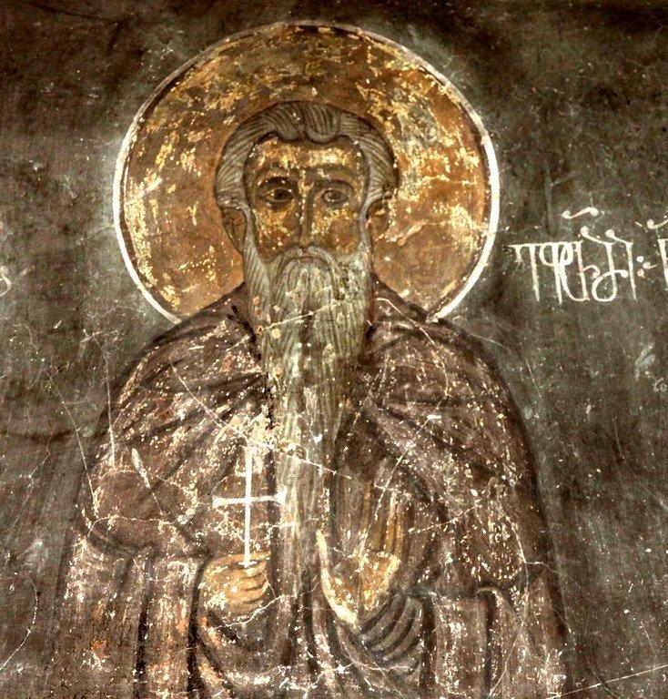 Святой Преподобный Евфимий Великий. Фреска храма Святой Марины в монастыре Сапара, Грузия.