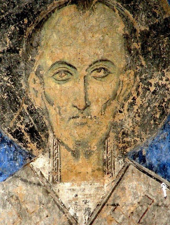 Святитель Иоанн Златоуст. Фреска церкви Святого Николая в монастыре Кинцвиси, Грузия. Начало XIII века.
