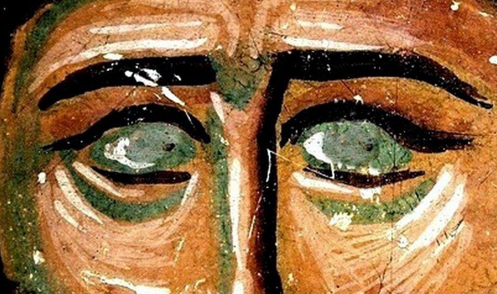 Святой Преподобный Ефрем Сирин. Фреска собора Христа Спасителя в Цаленджихе, Грузия. Конец XIV века. Иконописец Мануил Евгеник.