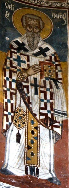Священномученик Игнатий Богоносец. Фреска собора Никорцминда, Грузия. XVI - XVII века.