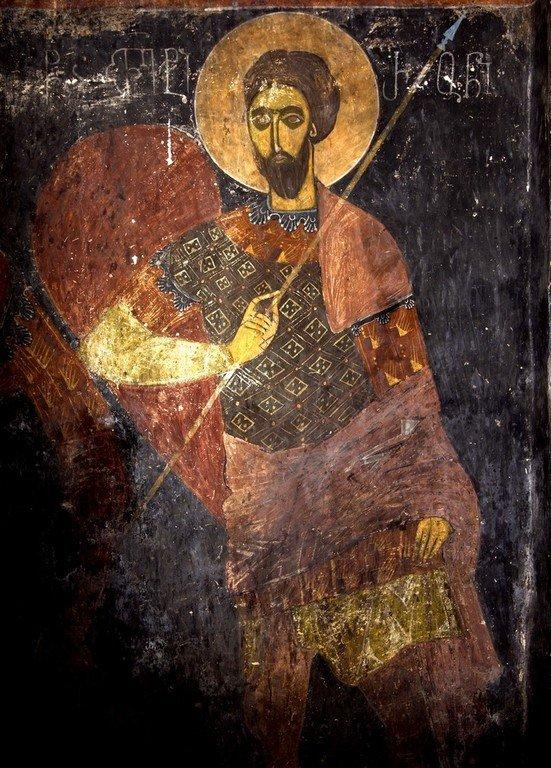 Святой Великомученик Феодор Тирон. Фреска церкви Святых Архангелов (Тарингзел) в Латали, Сванетия, Грузия.