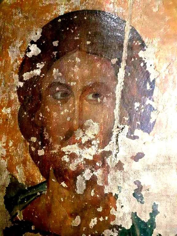 Лик Спасителя. Фрагмент древней грузинской иконы. Сванетия, Грузия.