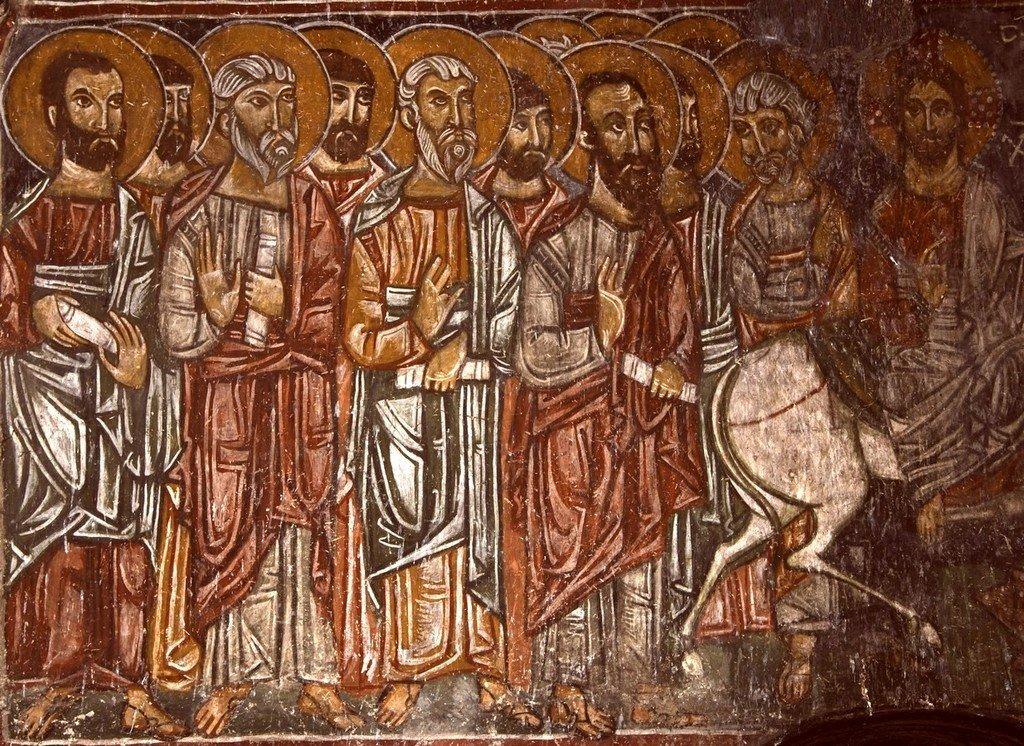 Вход Господень во Иерусалим. Фреска церкви Архангелов Михаила и Гавриила в Ленджери, Сванетия, Грузия. Фрагмент.