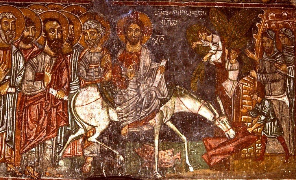 Вход Господень во Иерусалим. Фреска церкви Архангелов Михаила и Гавриила в Ленджери, Сванетия, Грузия.