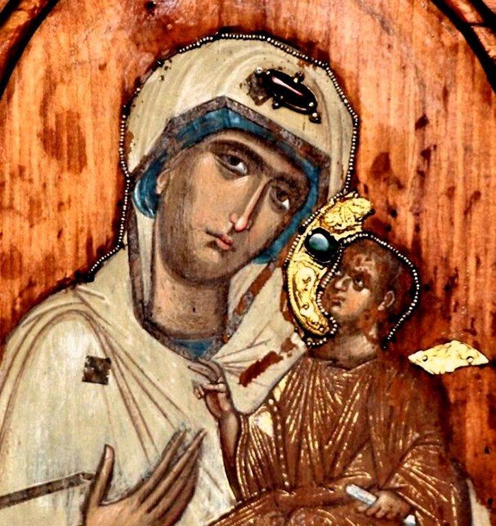 """""""Белая Богородица из Лахушди"""". Старинная грузинская икона. Фрагмент."""