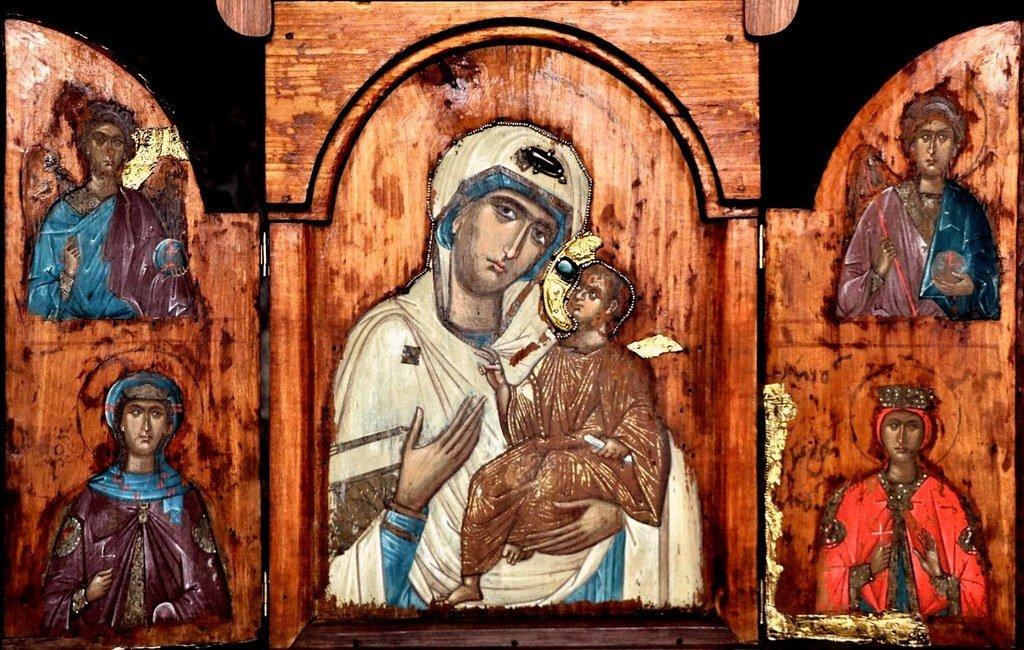 """""""Белая Богородица из Лахушди"""". Старинная грузинская икона."""