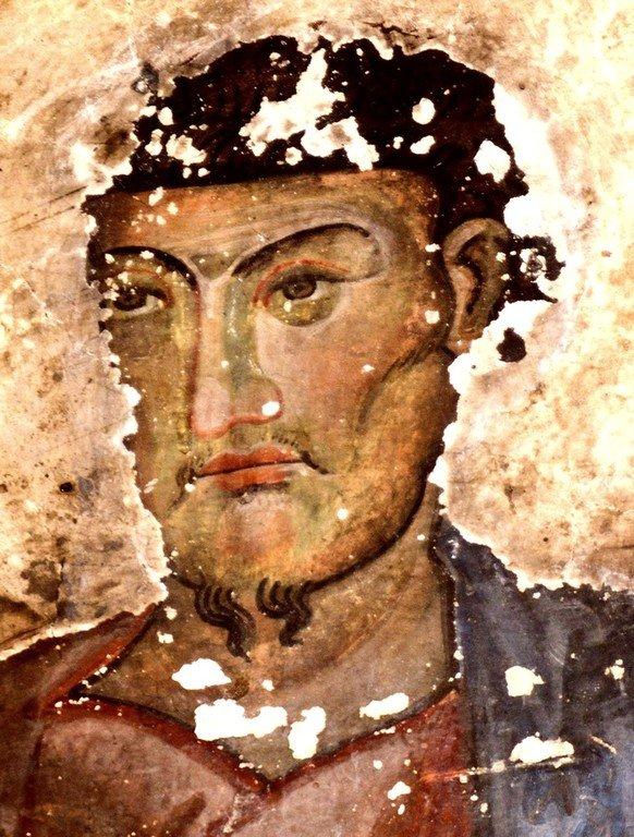 Святой Апостол и Евангелист Лука. Фреска церкви Спасителя в Чвабиани, Сванетия, Грузия. 978 - 1001 годы.