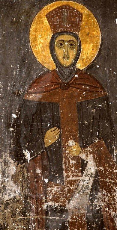 Святая Великомученица Ирина Македонская. Фреска церкви Тарингзел (Святых Архангелов) в Латали, Сванетия, Грузия.