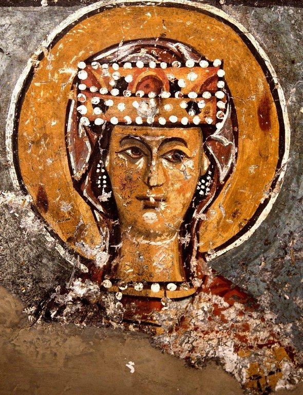 Святая Великомученица Ирина Македонская. Фреска церкви Преображения Господня в Лагами, Сванетия, Грузия. XIV век.