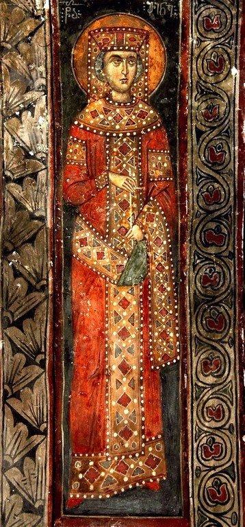 Святая Великомученица Ирина Македонская. Фреска монастыря Зарзма, Грузия. Середина XIV века.