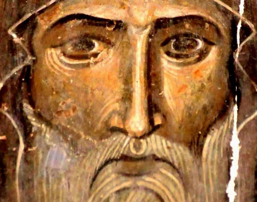 Святой Преподобный Иоанн Зедазнийский. Фреска монастыря Ахтала, Армения. Храм расписан грузинскими мастерами в XIII веке, когда монастырь был православным.