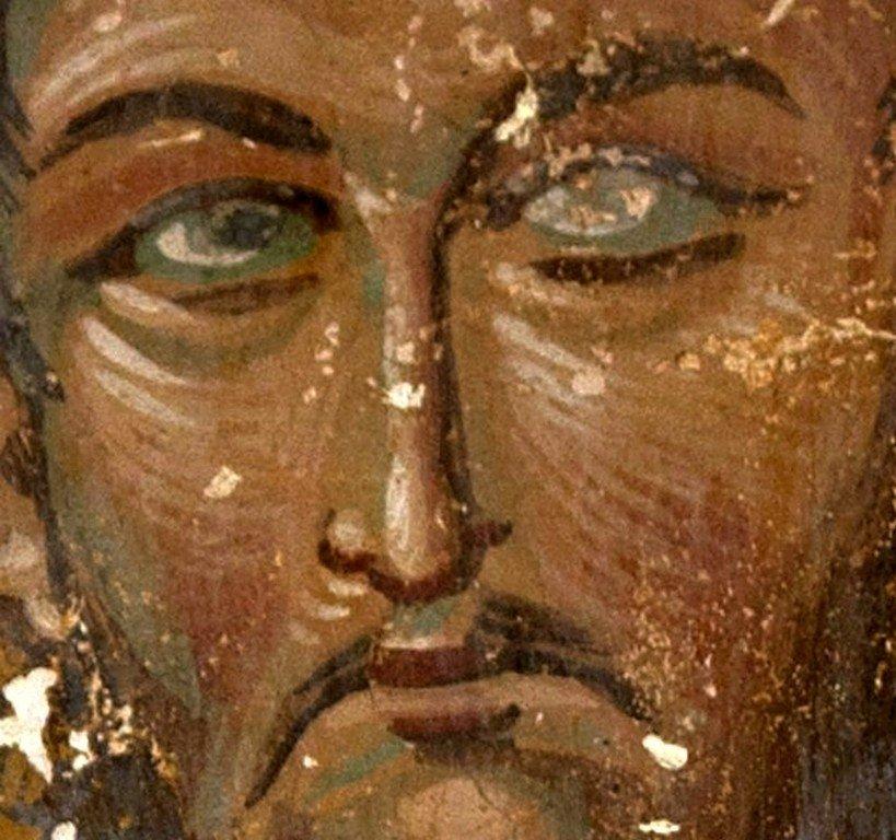 Святой Мученик Исидор. Фреска собора Христа Спасителя в Цаленджихе, Грузия. Конец XIV века. Иконописец Мануил Евгеник.