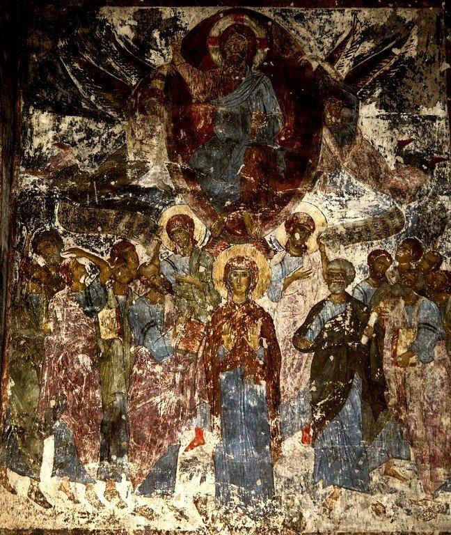 Вознесение Господне. Фреска пещерного монастыря Вардзиа (Вардзия), Грузия. До 1185 года.