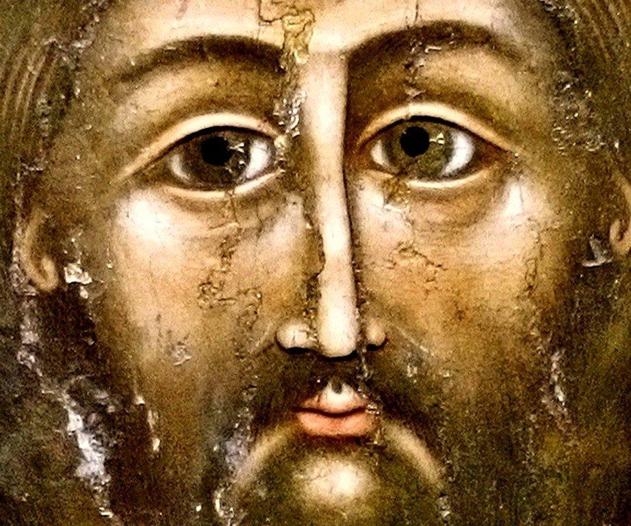 """Господь Вседержитель (""""Христос из Кацхи""""). Грузинская икона XI века. Лик Спасителя."""