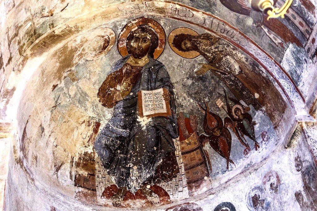 Деисис. Фреска храма Святого Саввы в монастыре Сапара, Грузия. Конец XIII - начало XIV веков.