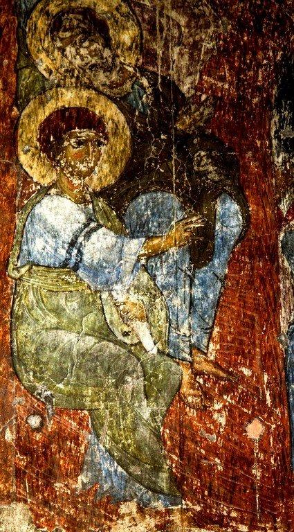 Сошествие Святого Духа на Апостолов. Фреска пещерного монастыря Вардзиа (Вардзия), Грузия. До 1185 года. Фрагмент.