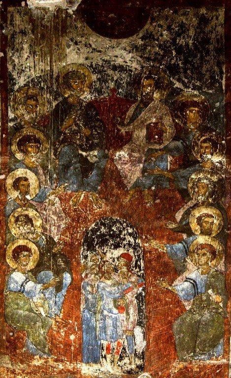 Сошествие Святого Духа на Апостолов. Фреска пещерного монастыря Вардзиа (Вардзия), Грузия. До 1185 года.