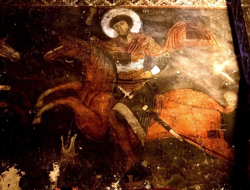 Святой Великомученик Феодор Стратилат. Фреска церкви Святого Георгия в Накипари, Сванетия, Грузия. 1130 год. Иконописец Тевдоре.