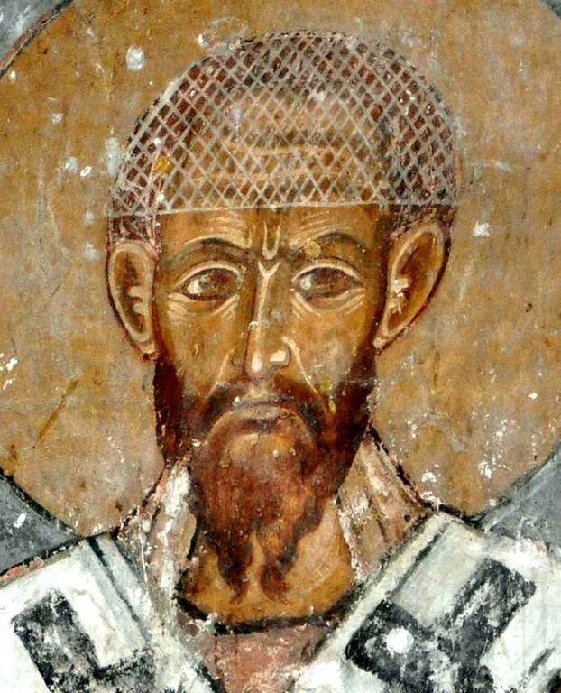 Святитель Кирилл, Архиепископ Александрийский. Фреска храма Атени Сиони, Грузия. XI век.
