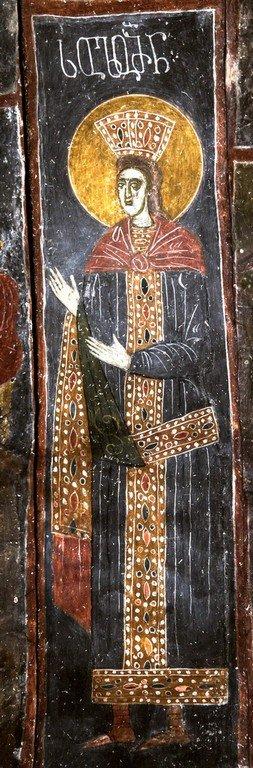 Святой Пророк Царь Соломон. Фреска церкви Святых Архангелов в Латали, Сванетия, Грузия. XVI век.