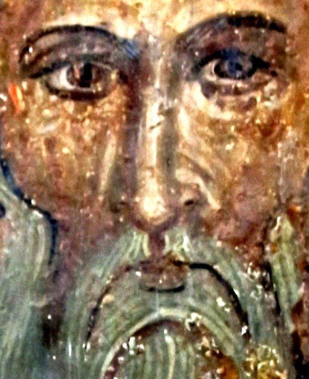 Святой Преподобный Георгий Иверский, Афонский (Гиорги Мтацминдели). Фреска монастыря Ахтала, Армения. Выполнена грузинскими мастерами в XIII веке, когда монастырь был православным.