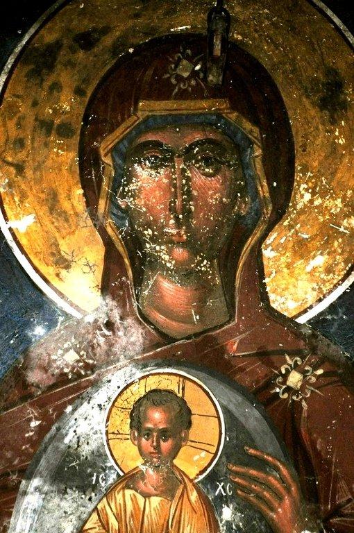 Пресвятая Богородица с Младенцем. Фреска церкви Святого Георгия в монастыре Гелати, Грузия. XVI век.
