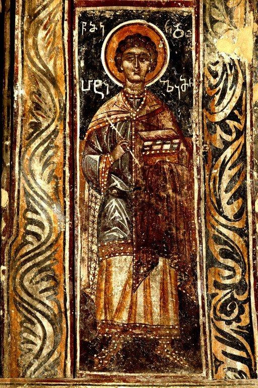 Святой Великомученик и Целитель Пантелеимон. Фреска монастыря Хоби, Грузия.