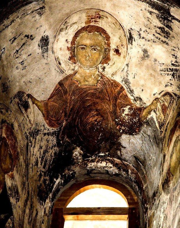 Христос Эммануил. Фреска пещерного монастыря Вардзиа (Вардзия), Грузия. До 1185 года.