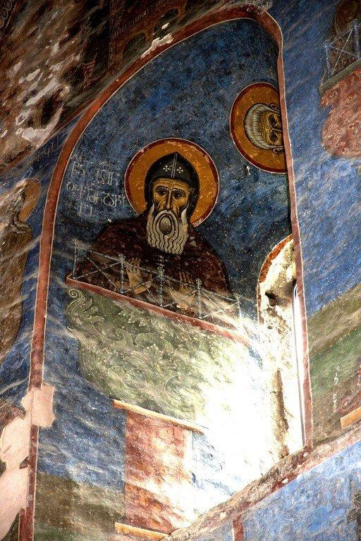Святой Преподобный Симеон Столпник Старший.Фреска монастыря Ахтала, Армения. Выполнена грузинскими мастерами в XIII веке, когда монастырь был православным.