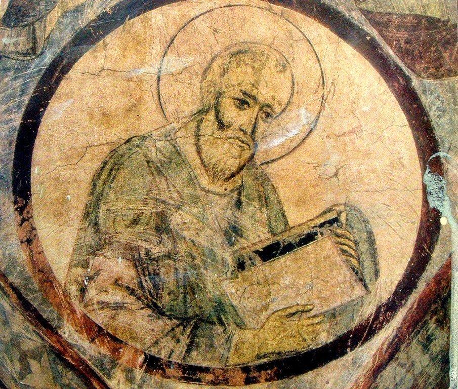 Святой Апостол и Евангелист Иоанн Богослов. Фреска церкви Святого Николая в монастыре Кинцвиси, Грузия. Начало XIII века.