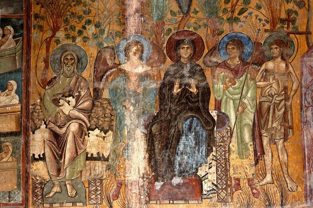 Рай. Лоно Авраамово. Фреска монастыря Ахтала, Армения. Выполнена грузинскими мастерами в XIII веке, когда монастырь был православным.
